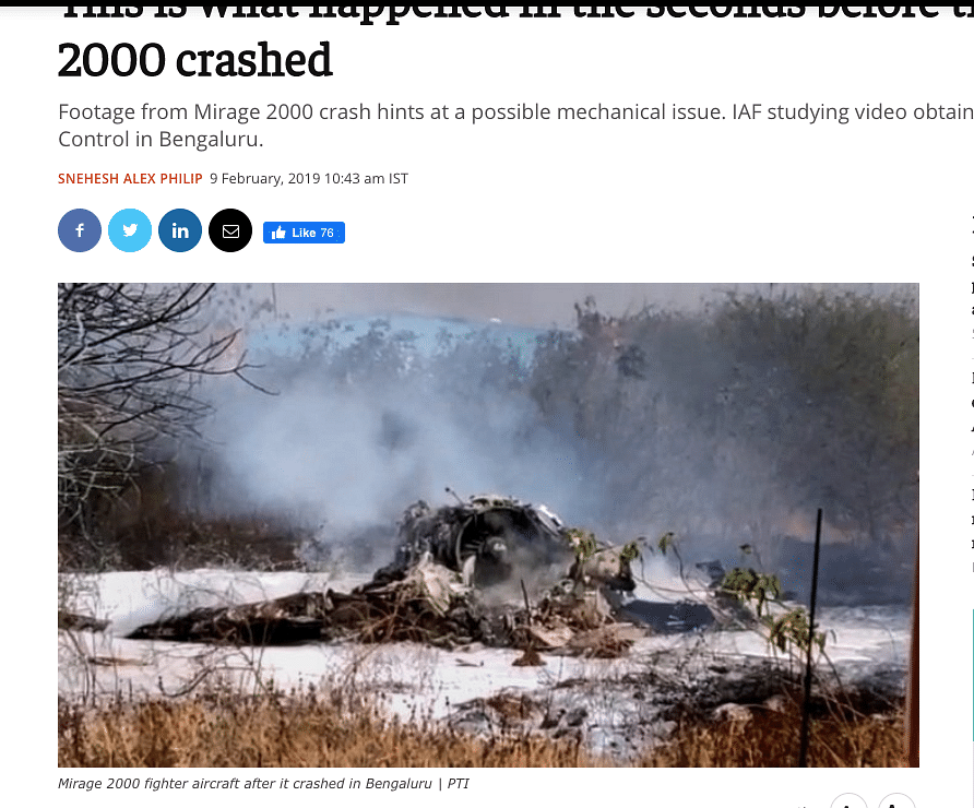 Old Photos of Mirage 2000 Crash From 2019 Viral as Crashed Rafale