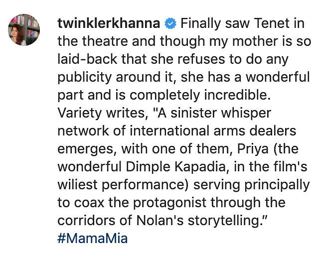 Twinkle Khanna Can't Stop Praising Mom Dimple Kapadia in 'Tenet'