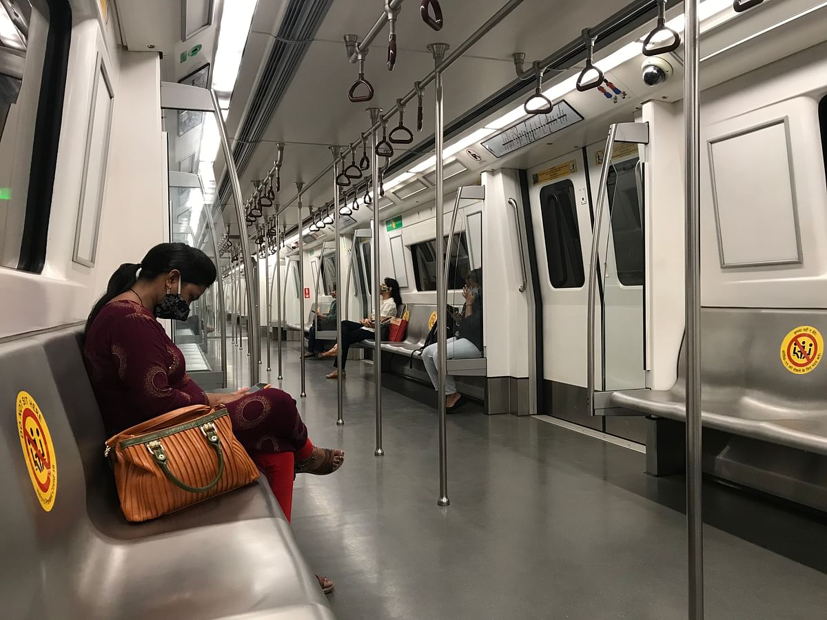 One of the new rules in the metro is that passengers must keep a gap of one seat between them, which was easily maintained on day one.