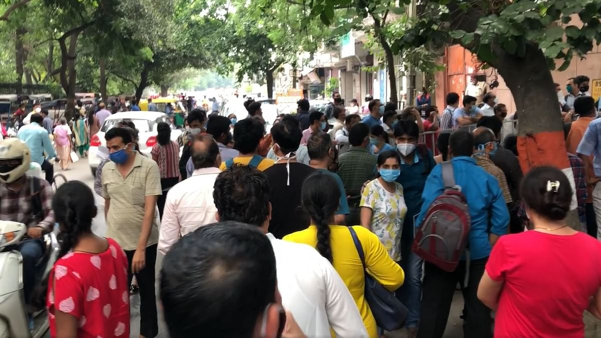 NEET: At Delhi Centre, Social Distancing Inside, Crowds Outside
