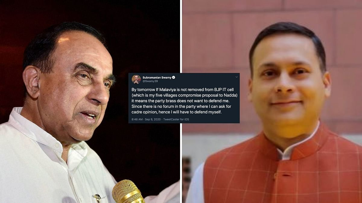 BJP Rajya Sabha MP Subramanian Swamy has gone all out against IT Cell in-charge Amit Malviya.
