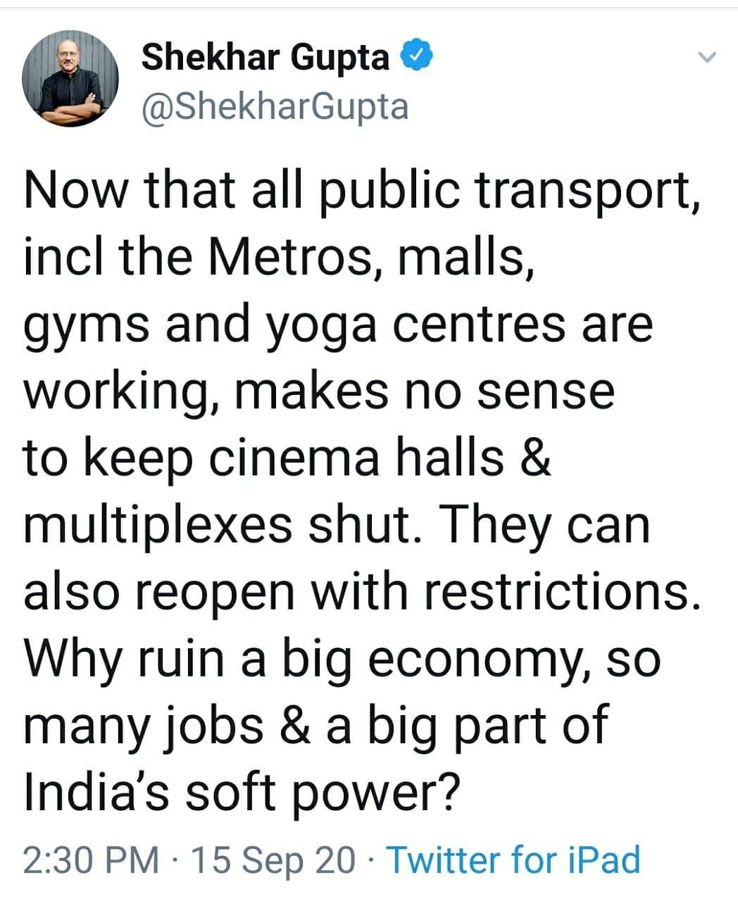 Twitterati reacts to cinemas not opening.