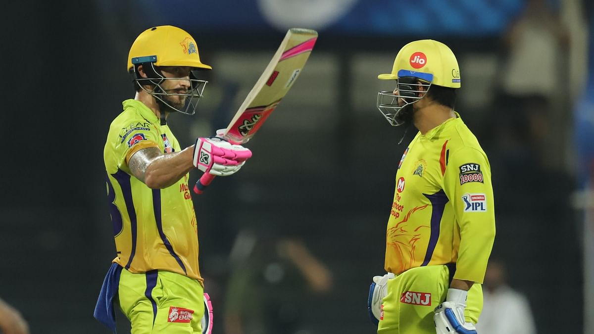 Faf du Plessis of Chennai Superkings raises his bat after scoring a fifty during match 4 of season 13 of the Dream 11 Indian Premier League (IPL) between Rajasthan Royals and Chennai Super Kings held at the Sharjah Cricket Stadium.
