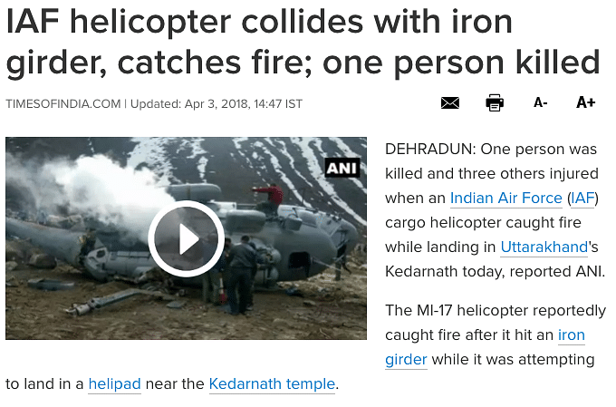 Pak Scribe Shares 2018 IAF Helicopter Crash Image as Recent One