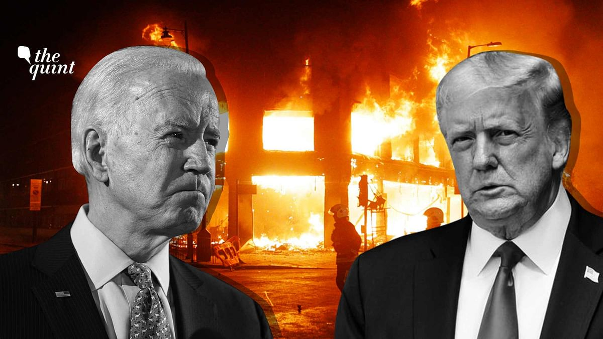 Image of Joe Biden (L) and Trump (R), with a picture representing anarchy /violence as the backdrop – to symbolise the essence of the article.