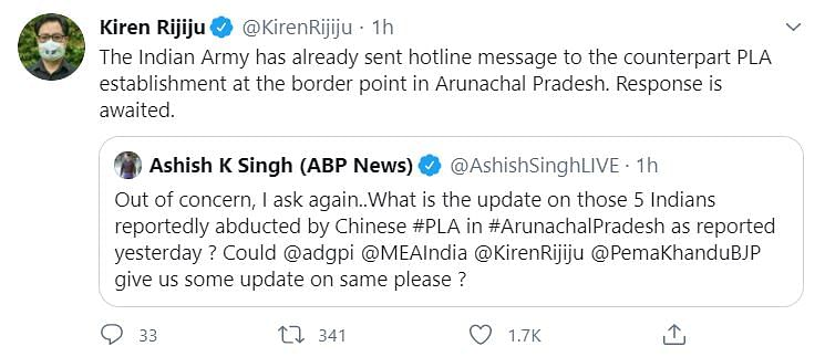 Indian Army Sought Reply from PLA on Missing Arunchal Men: Rijiju