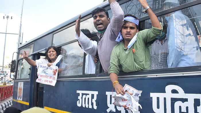 Protesters took to streets across Uttar Pradesh against farm bills.