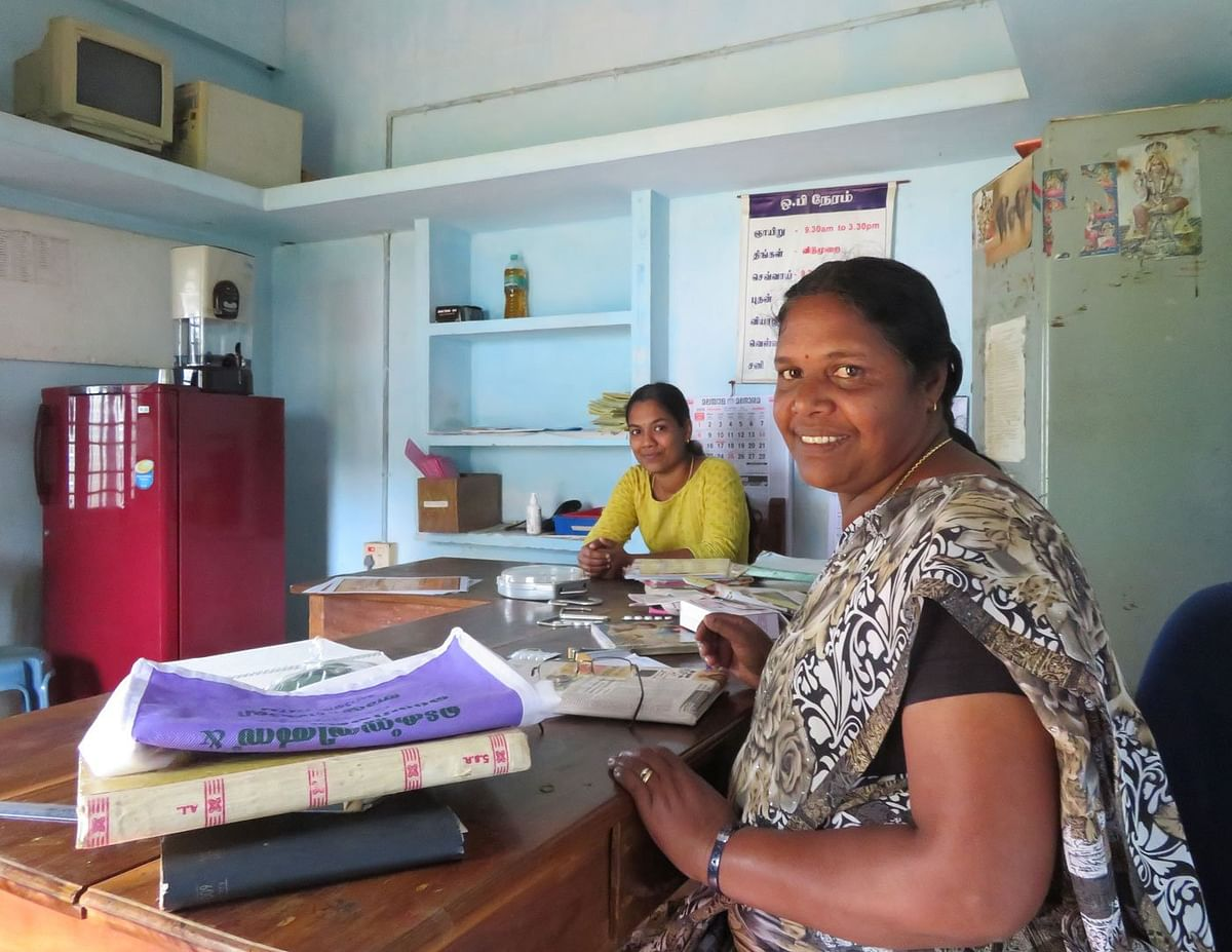 Jiji Elamana and TR Jaanu (in foreground) at the Ayyankoli area centre, 'Girls in the villages approach us for reproductive health advice,' says Jaanu.