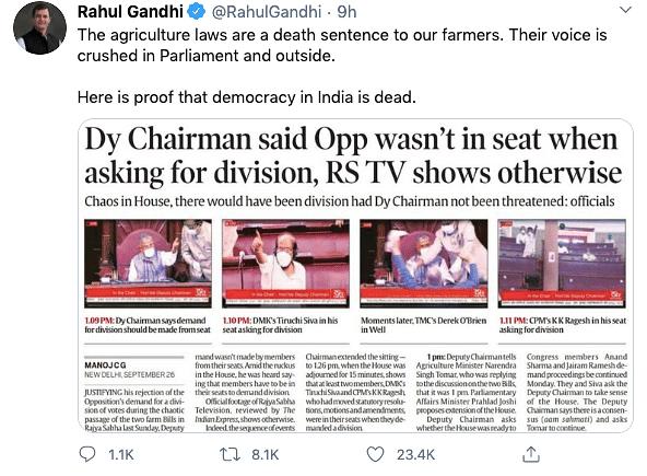 Proof that Democracy is Dead: Rahul Gandhi on Farm Bills Vote