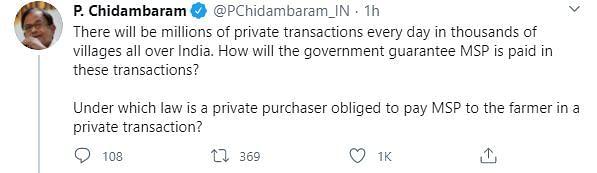 Chidambaram Slams Govt Over MSP Claims Amid Farmer Bill Row