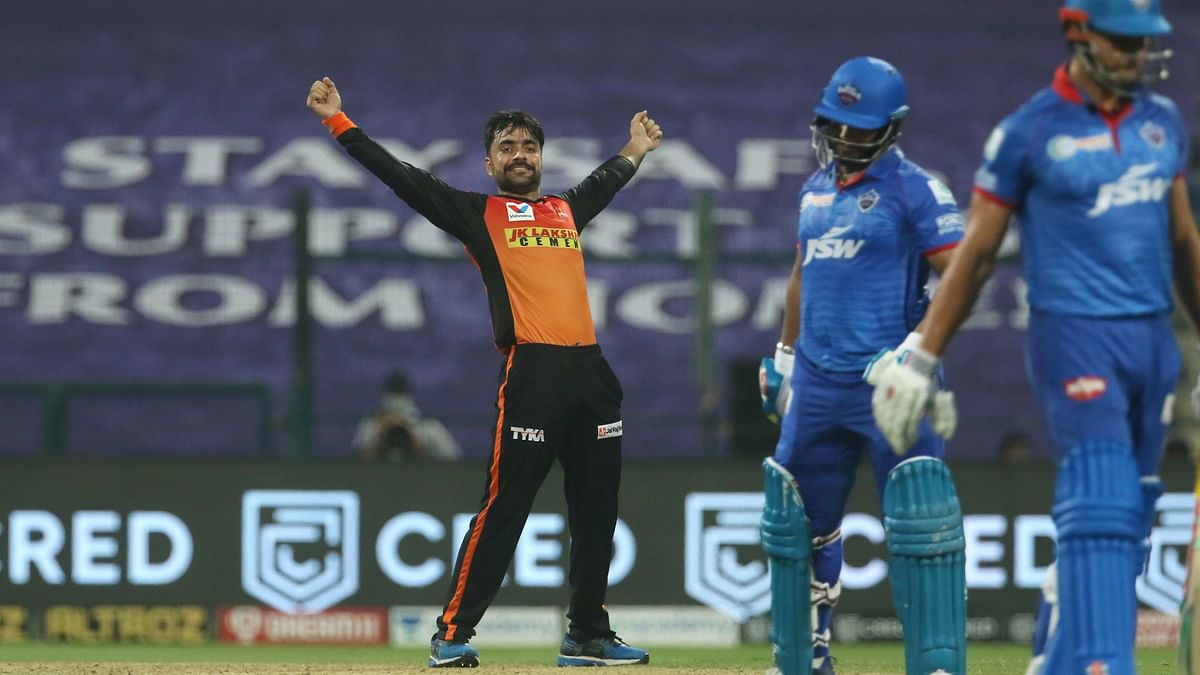 Sunrisers Hyderabad bowler Rashid Khan celebrates a wicket.