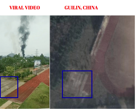 Left: Viral Video. Right: Google map view of Guilin, China