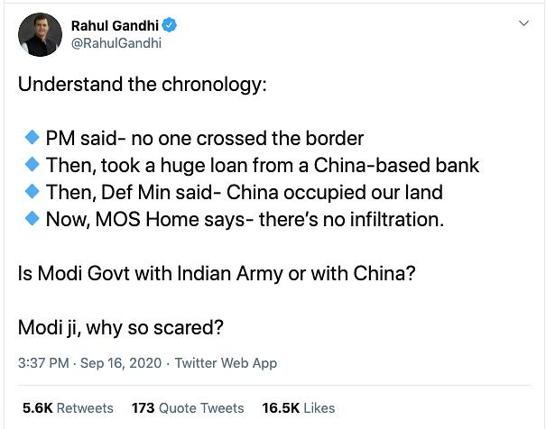 Modi Govt with India or China? Rahul Takes a Jibe at PM
