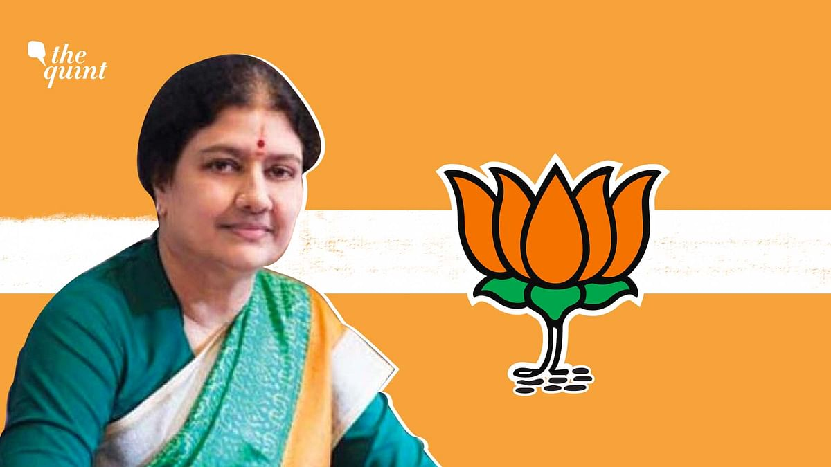 Image of VK Sasikala and BJP party symbol used for representational purposes.
