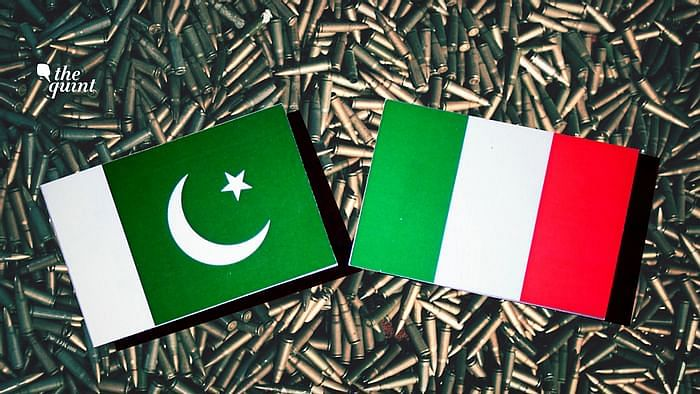 Image of Pakistan (L) and Italy's (R) flags, and guns in the background – to represent terrorism – used for representational purposes.