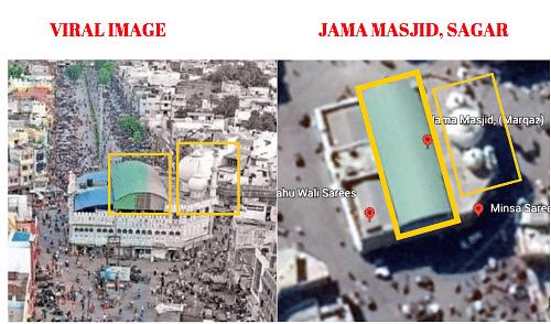Left: Viral image. Right: Jama Masjid, Sagar.