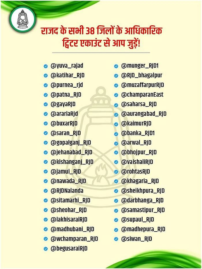 List of RJD's twitter pages made for 38 distructs.