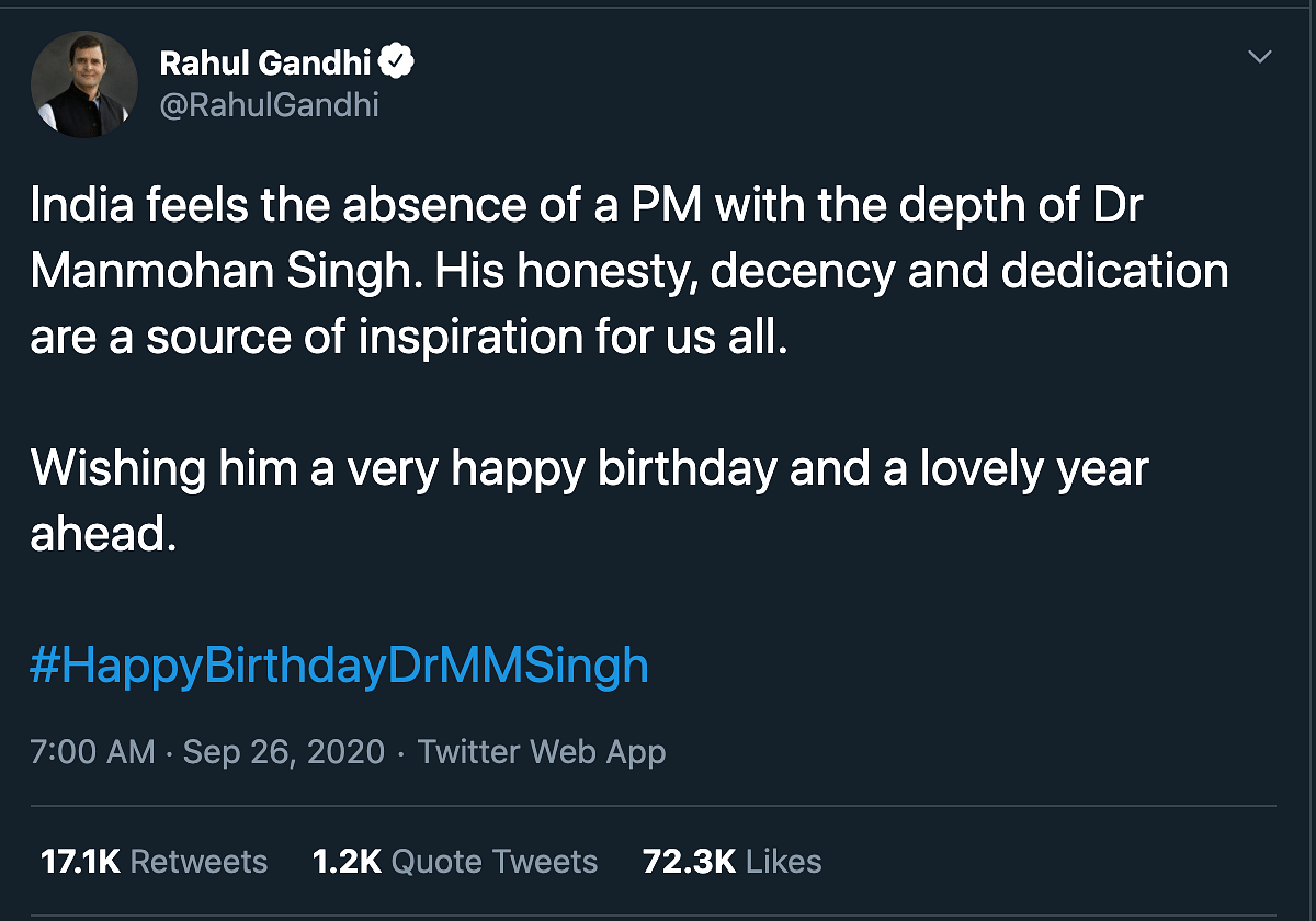 'India Feels the Absence': Rahul's B'day Wishes for Manmohan Singh
