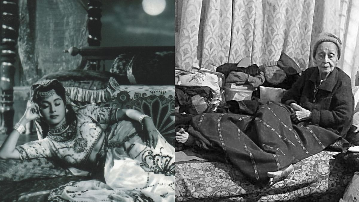 Yesteryear actor Smriti Biswas in a film (L); Smriti Biswas at her home in Nashik (R).