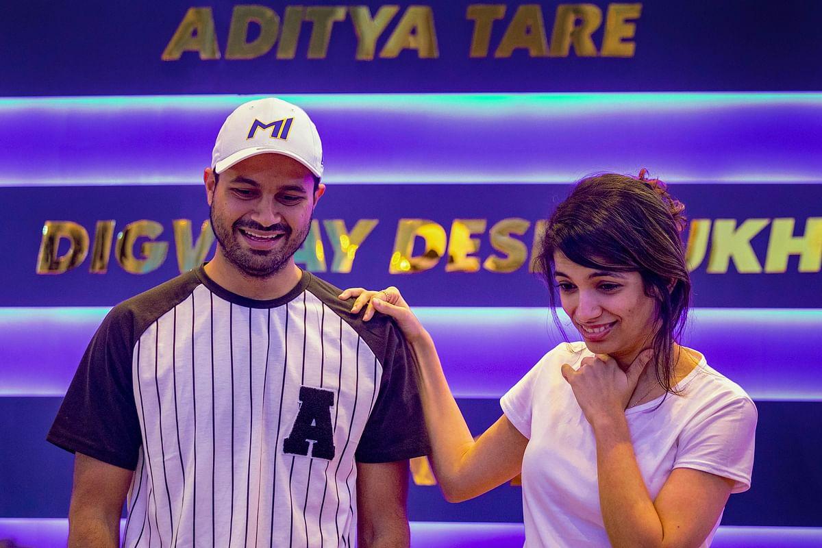 Mumbai keeper batsman Aditya Tare is seen having a good time at MI's Team Room.