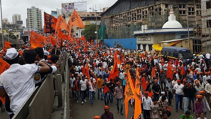 Maratha community members hold a rally in Mumbai for reservation.