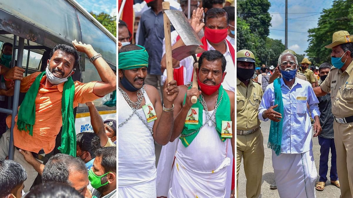 """A nationwide protest took place, against the contentious <a href=""""https://www.thequint.com/big-story/farm-bills-row"""">farm bills</a>, on Friday, 25 September, with over two dozen farmer organisations having announced their support to the call for the bandh."""