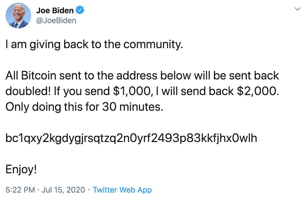 Joe Biden's Twitter account was hacked on 15 July.