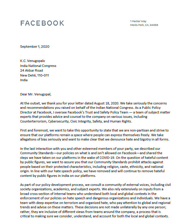 Facebook Letter to the Congress