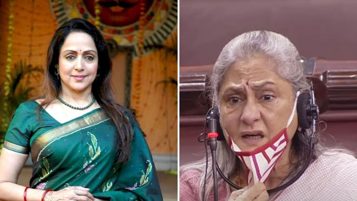 Hema Malini supports Jaya Bachchan after her speech on Bollywood in the Parliament.
