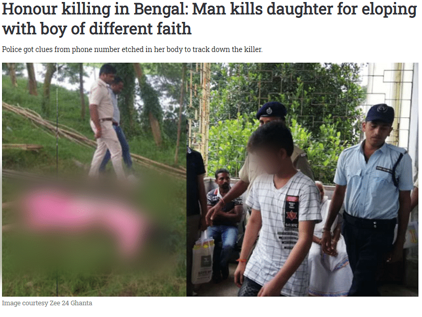 The 12 September 2018 report on honour killing in West Bengal.