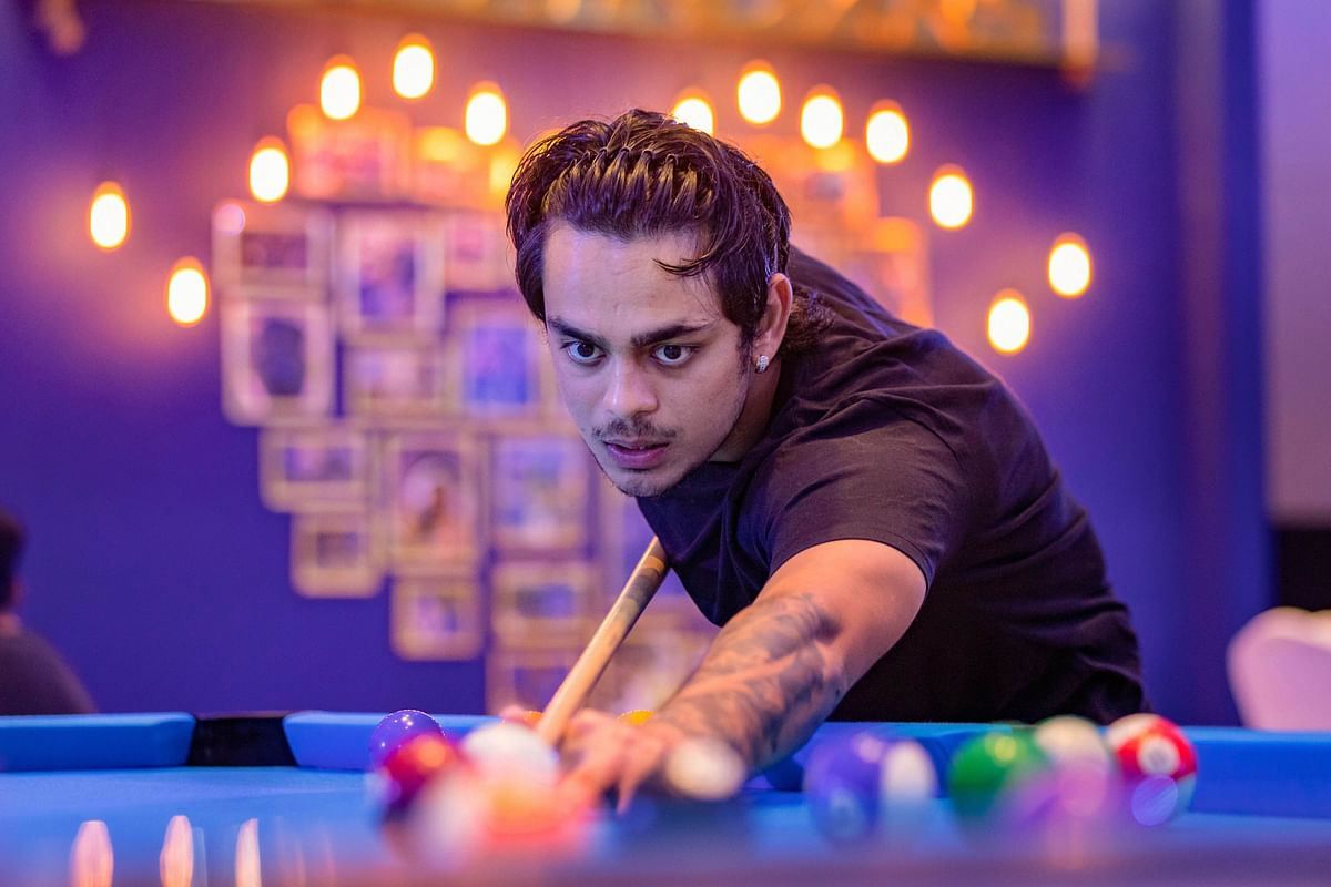 The recreational centre also has a pool table and Jharkhand keeper batsman Ishan Kishan trying his hand at the pool stick.