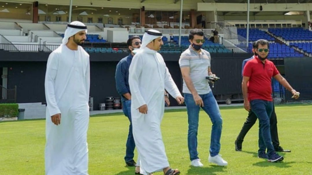 BCCI President along with a few local dignitaries, at the iconic Sharjah Cricket Stadium