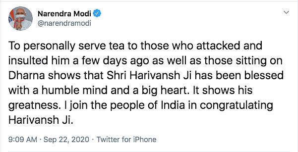 Harivansh Singh to Fast Over MPs' Behaviour, PM Backs Offer of Tea