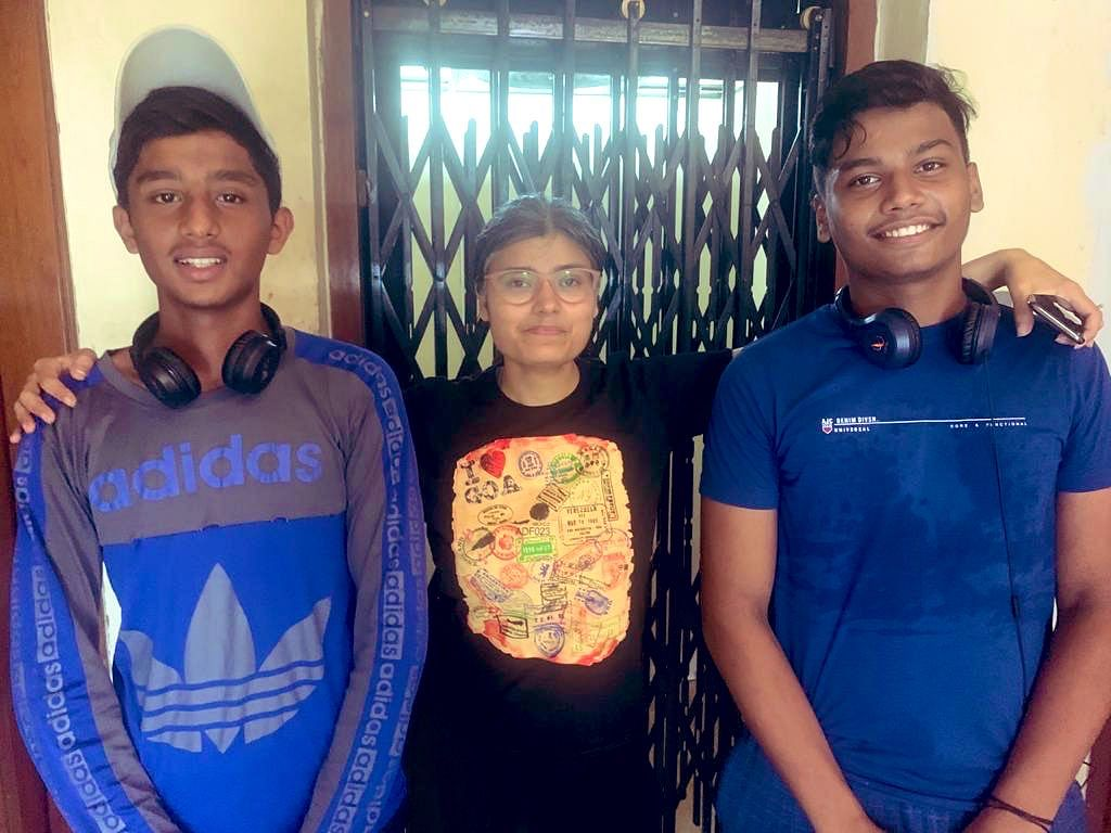 Gautam (L) and Deepanshu (R), the winners of 'Catch Chica' game, and a tearful me