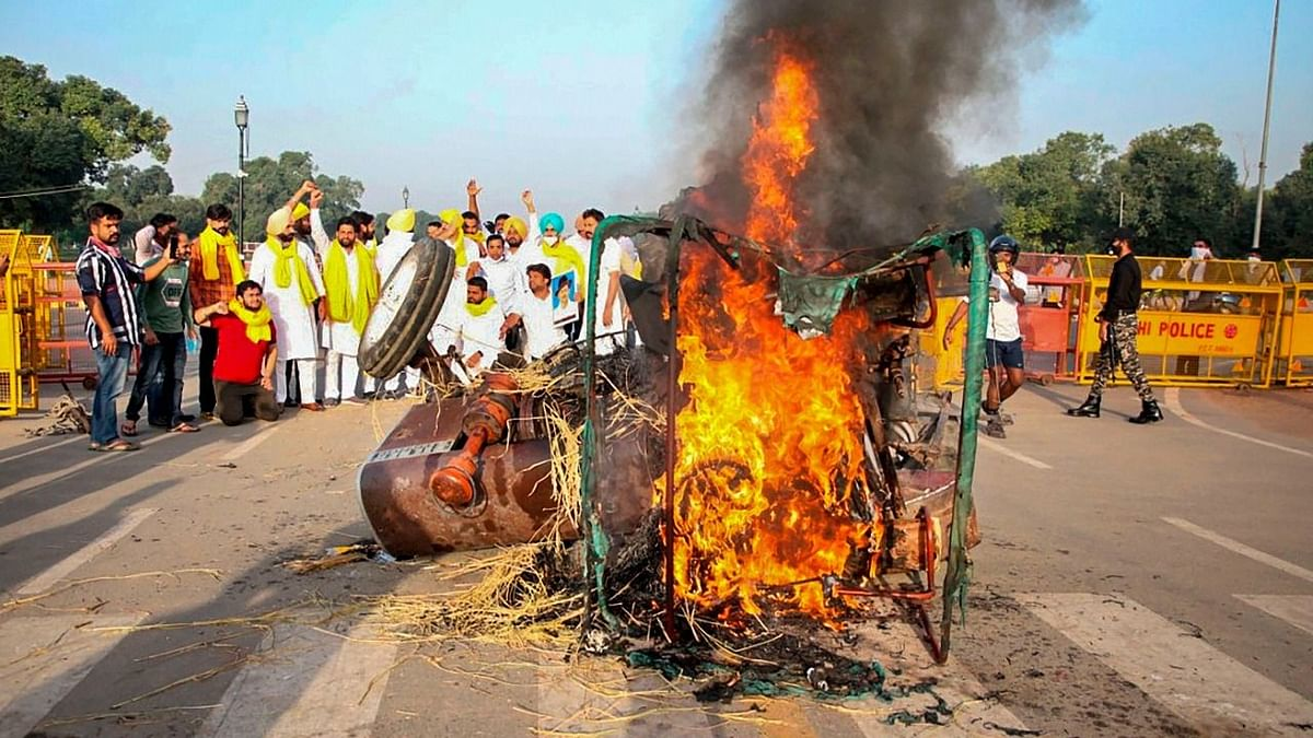 Five people – all residents of Punjab – were later detained in connection with the burning of the tractor.