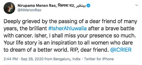 Economist  Dr Isher Judge Ahluwalia Dies After Battling  Cancer