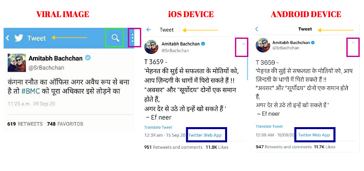 Left: Viral image. Middle: iOS device. Right: Android device.