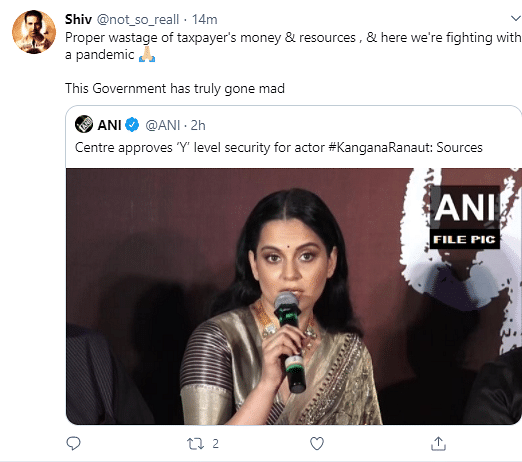 Kangana To Get Y+ Level Security, Twitter Asks Why?