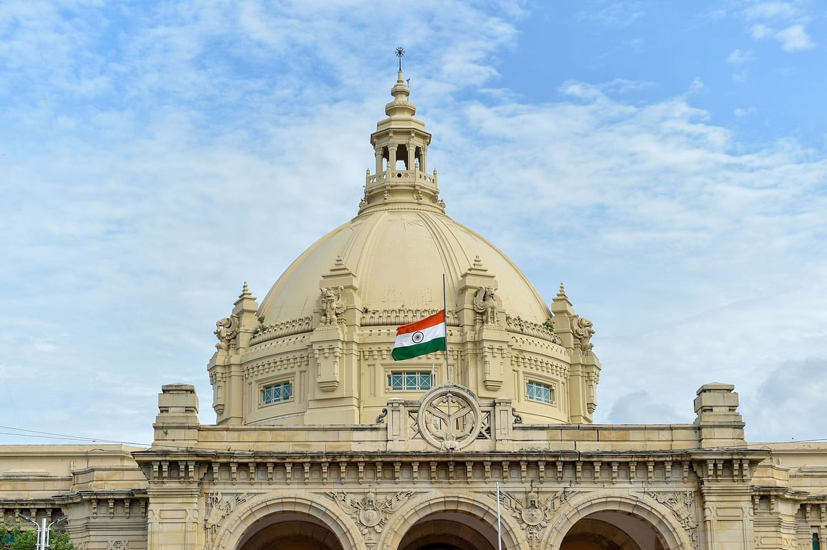 Indian national flag flies at half-mast at Vidhan Bhawan as part of seven day state mourning on demise of former president Pranab Mukherjee, in Lucknow.