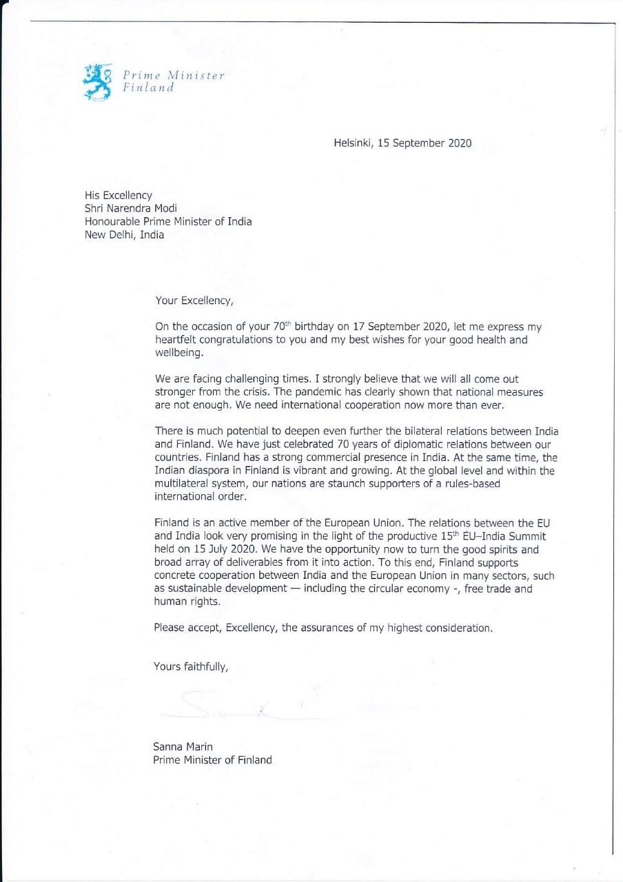 Finland PM Sanna Marin wishes PM Modi on his birthday