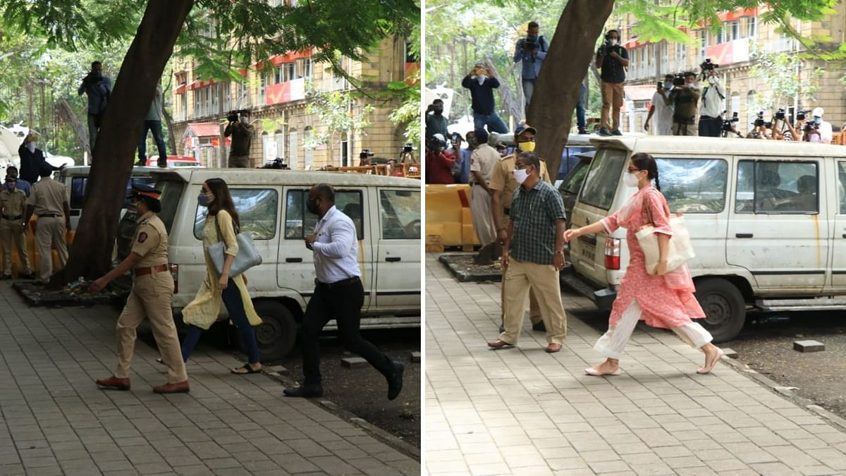 Sara Ali Khan and Shraddha Kapoor arrive at the NCB office for questioning in drug probe.