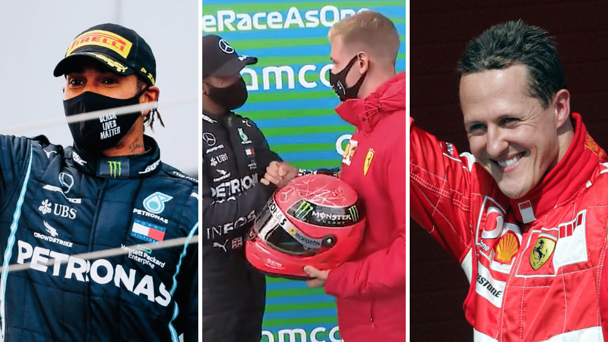 Lewis Hamilton Equals Michael Schumacher S F1 Record Presented With His Helmet