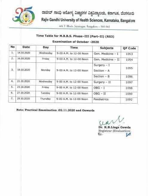 Datesheet for MBBS examinations.