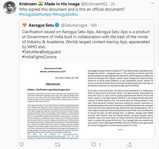 Who Signed This? Twitter Unhappy with Aarogya Setu Press Release