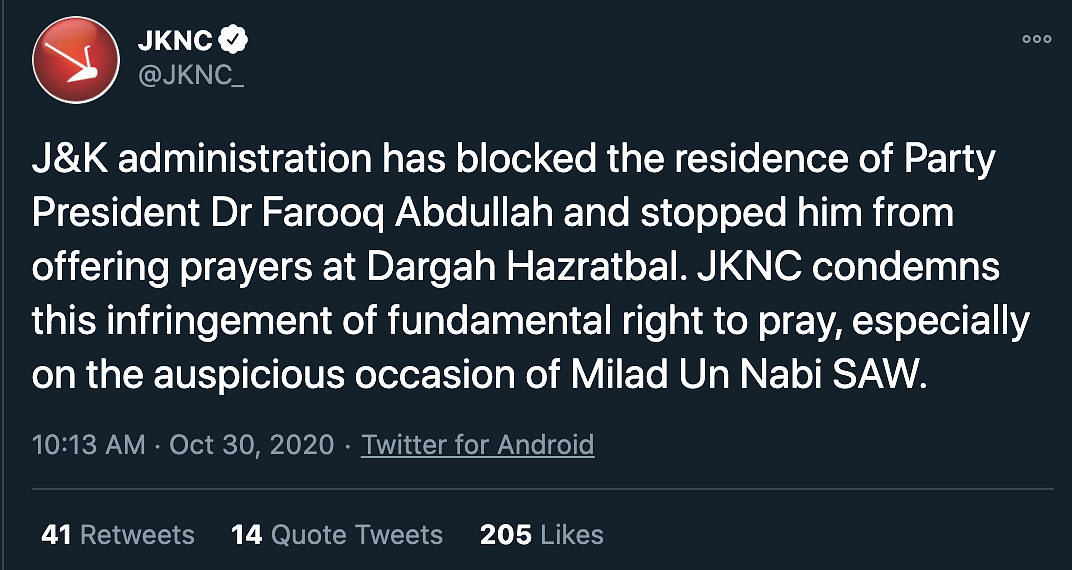 'J&K Admin Stopped Farooq Abdullah from Visiting Shrine': NC