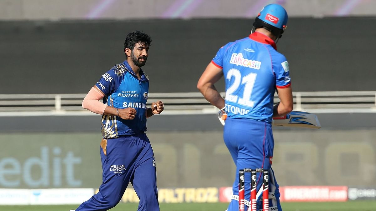 Jasprit Bumrah after dismissing Marcus Stoinis at the start of a dream over in Dubai.