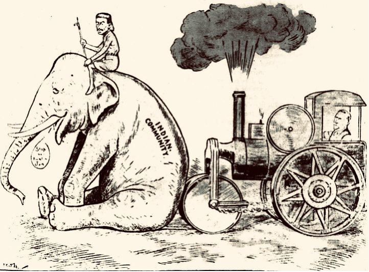 The steam roller vs the elephant; Sunday Times, 1908