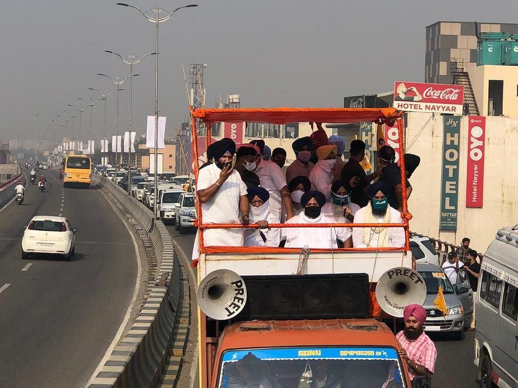 SAD President Sukhbir Singh Badal enroute Mohali Raj Bhavan from Amritsar.