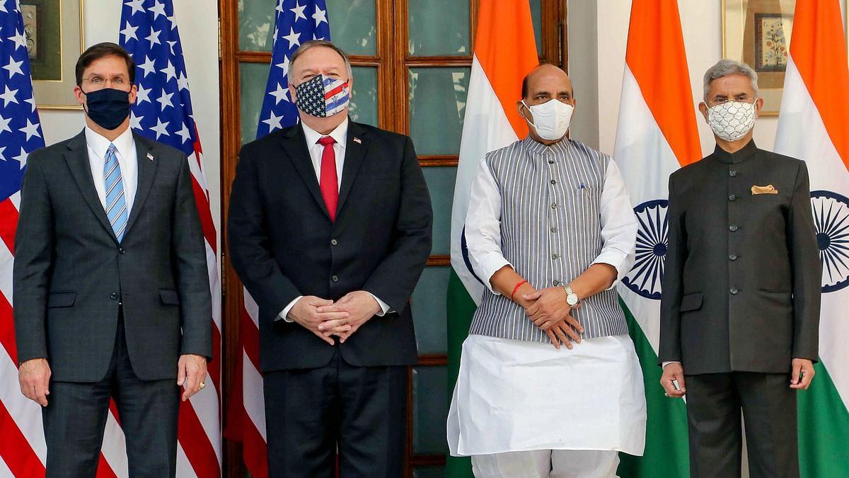 Defence Minister Rajnath Singh, External Affairs Minister S.Jaishankar along with US Secretary of State Mike Pompeo and US Secretary of Defence Mark Esper, ahead of India-USA 2+2 Dialogue in New Delhi.