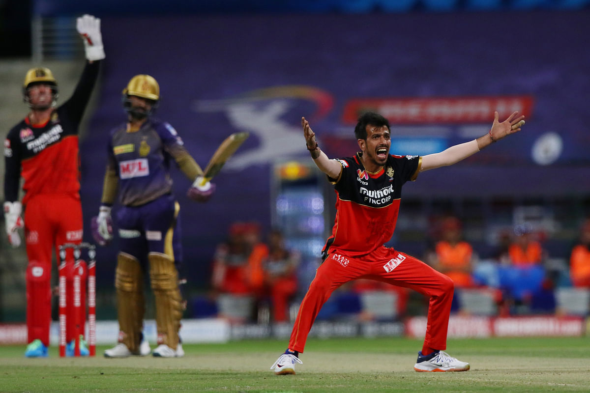 Virat Kohli introduced spin in the ninth over and Yuzvendra Chahal trapped Karthik lbw for a 14-ball 4.